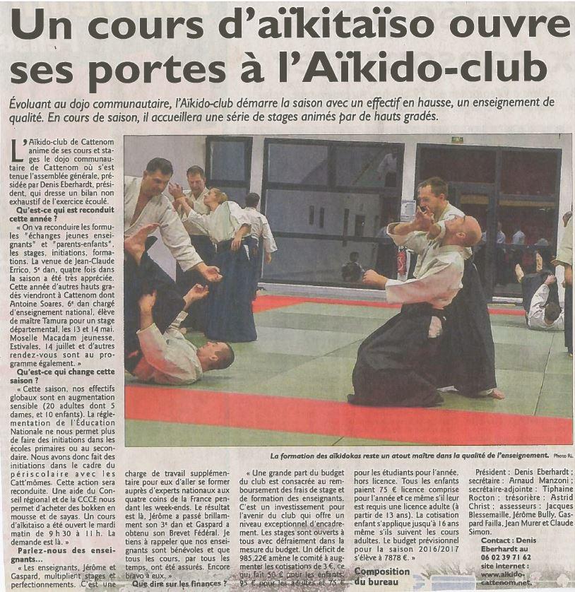 Un cours d'Aikitaïso ouvre à Cattenom